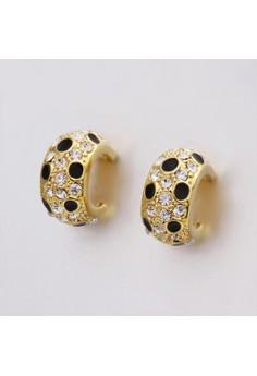 Treasure by B&D E439 Delicate Plated Moon Shape Czech Drilling Stud Earrings