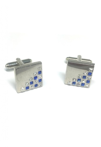Splice Cufflinks silver White and Blue Crystals Patterned Square Cufflinks SP744AC52FRRSG_1