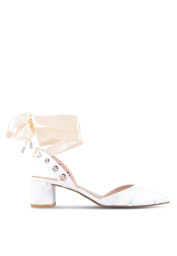 House of Avenues white Pointy Heels With Ribbon Details HO685SH0RRBVMY_1