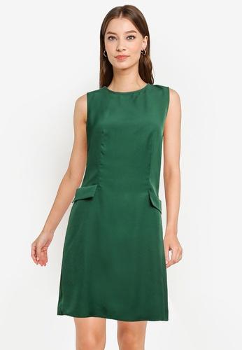 ZALORA WORK green A-Line Faux Pocket Detail Dress 3C5A1AAE0AB840GS_1