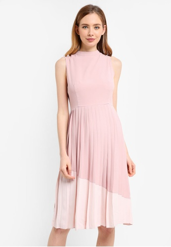 ZALORA pink and multi Contrast Pleated Dress 1DBFCAA11D8A1DGS_1