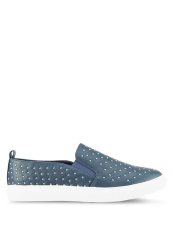 Something Borrowed blue Studded Slip Ons CF7C0ZZB45A014GS_1