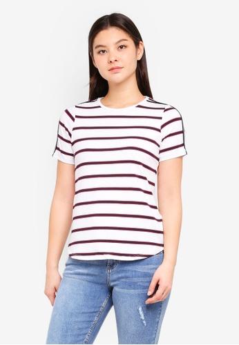 Dorothy Perkins 白色 Stripe Trim Tshirt 8A134AA2E51DA4GS_1