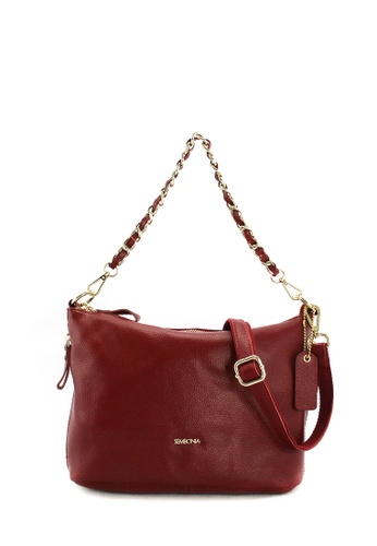 SEMBONIA red Full Leather Shoulder Bag (Red) SE598AC0SS2FMY_1
