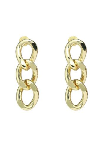 Red's Revenge gold Triple Links Dangle Earrings 4DCCBAC990242AGS_1