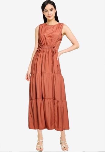 Mango orange Ruffles Flowy Dress CD81DAA4D408F4GS_1