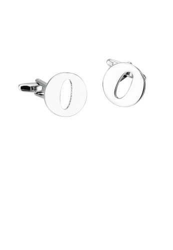 Glamorousky 銀色 簡約個性英文字母O袖扣 C914FAC64CB021GS_1