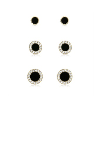 Glamorousky white 925 Sterling Silver Plated Gold Simple Geometric Round Three-Piece Stud Earrings 01788ACC0700C8GS_1