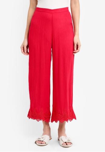 Miss Selfridge red Red Crochet Crop Trousers AAE8AAA92B4FD1GS_1