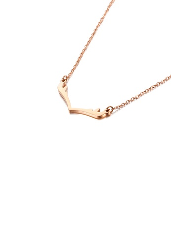 Glamorousky silver Fashion Simple Plated Rose Gold Antlers 316L Stainless Steel Necklace 87E99AC7A75C9EGS_1