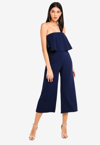 MISSGUIDED navy Double Layer Culottes Jumpsuit 689F1AA35E52FDGS_1