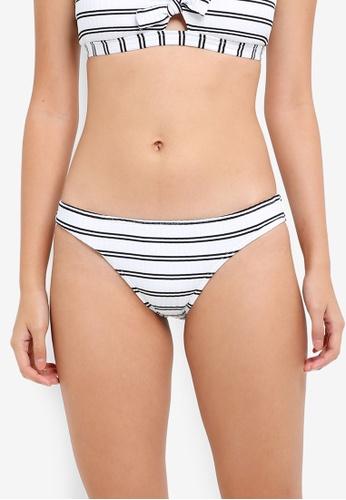 Seafolly white Inka Stripe Hipster Tie Side Bikini Bottom 1A15BUS0C842BEGS_1