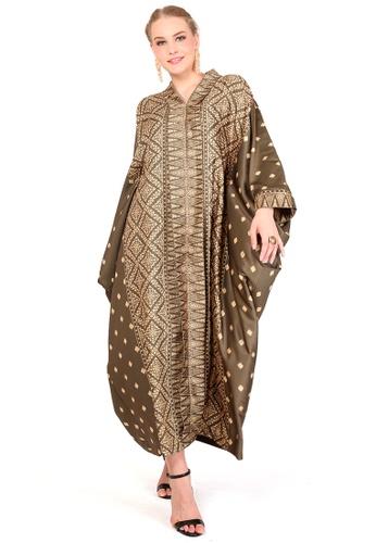 Kanzi by liza yahya brown Kanzi Exclusive Long Sleeve Songket Kaftan 99F4CAA2ADF729GS_1