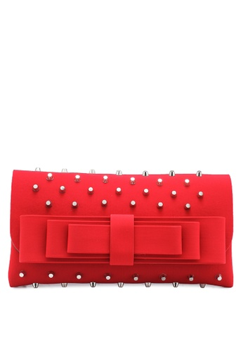 La Fille Des Fleurs red Cassis Studded Bow Clutch 4AD5AACFD8FA7EGS_1