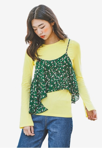 NAIN yellow Round Neck Side Slit Tee 3C592AA6B8A705GS_1
