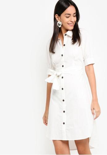 ZALORA white Button Down Puff Sleeves Dress 89F94AA85BA7E1GS_1