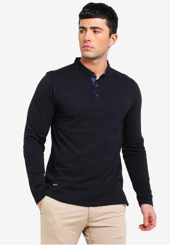 2e0b4424b3 Shop UniqTee Mandarin Collar Long Sleeve Polo Online on ZALORA Philippines
