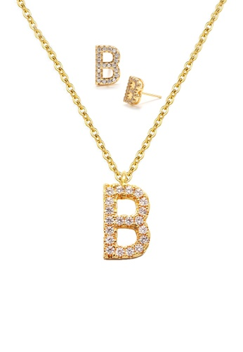"""Atrireal gold ÁTRIREAL - Initial """"B"""" Necklace + Earrings Jewellery Set in Gold D16A4AC1373A76GS_1"""