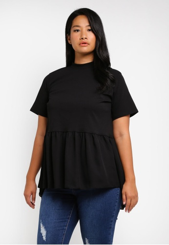 LOST INK PLUS black Top With Chiffon Hem And Tie Detail LO776AA0SZ56MY_1