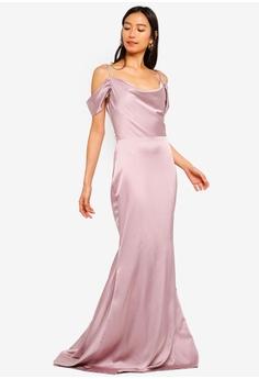 af03db18c2a MISSGUIDED pink Satin Cold Shoulder Maxi Dress With Train 7FB4DAA124F7BBGS_1