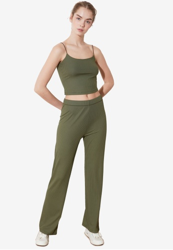 Trendyol green 2-Piece Spaghetti Top and Bottom Set E85D9AA3C46AABGS_1