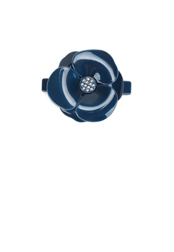 Glamorousky white Fashion and Elegant Dark Blue Flower Hair Slide with Cubic Zirconia D0584AC01125D2GS_1