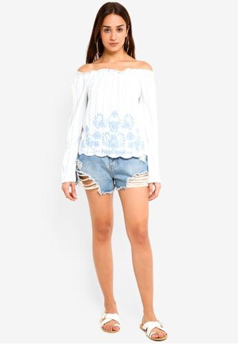 82d1d560392050 Buy Miss Selfridge Stripe Embroidered Long Sleeve Bardot Top Online on  ZALORA Singapore