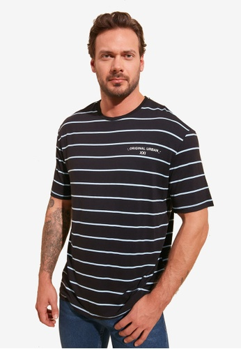 Trendyol navy Oversized Fit Striped T-Shirt FFBEDAAD090D0EGS_1