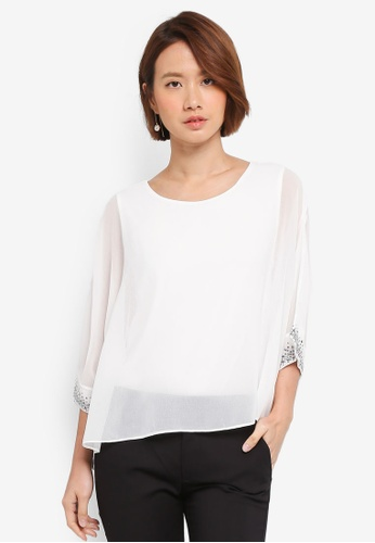 Wallis white Ivory Cuff Layered Top 988E3AA69DA2A5GS_1