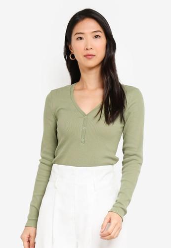 Vero Moda green Harriet V-neck Button Top 07428AAA0F6A26GS_1