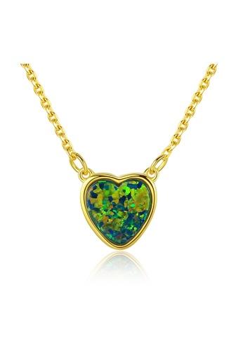 SUNRAIS gold Premium Silver S925 Gold Heart Necklace FE941ACCBF5B9EGS_1