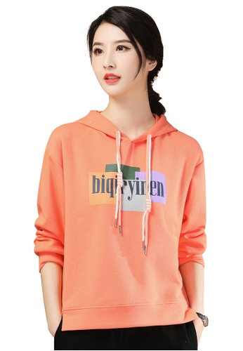 A-IN GIRLS orange Fashion Printed Hooded Sweatshirt 90812AA33D5F42GS_1