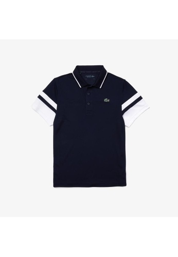 Lacoste navy Men's Lacoste SPORT Striped Sleeves Breathable Pique Tennis Polo Shirt EA7EBAA9B9B3D8GS_1