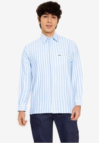 ZALORA BASICS multi Stripe Zip Pocket Shirt F18B9AA98CAC64GS_1