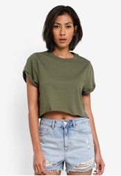 TOPSHOP green Petite Cropped Roll Back T-Shirt TO412AA0S7U8MY_1