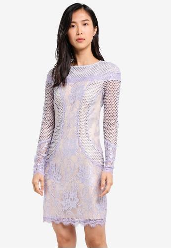 ZALORA purple Fitted Lace Dress 8C2A4AA392EABEGS_1