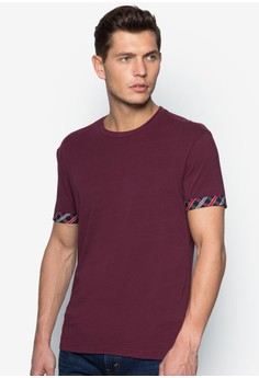 Crew Neck T-Shirt with Sleeves Details