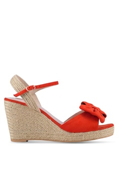 Velvet red Bow Detail Ankle Strap Espadrille Wedges C0FA0SH0A39812GS_1