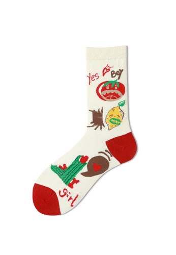 Kings Collection white Tomato Pattern Cozy Socks (One Size) HS202243 5C332AA60A1EFEGS_1