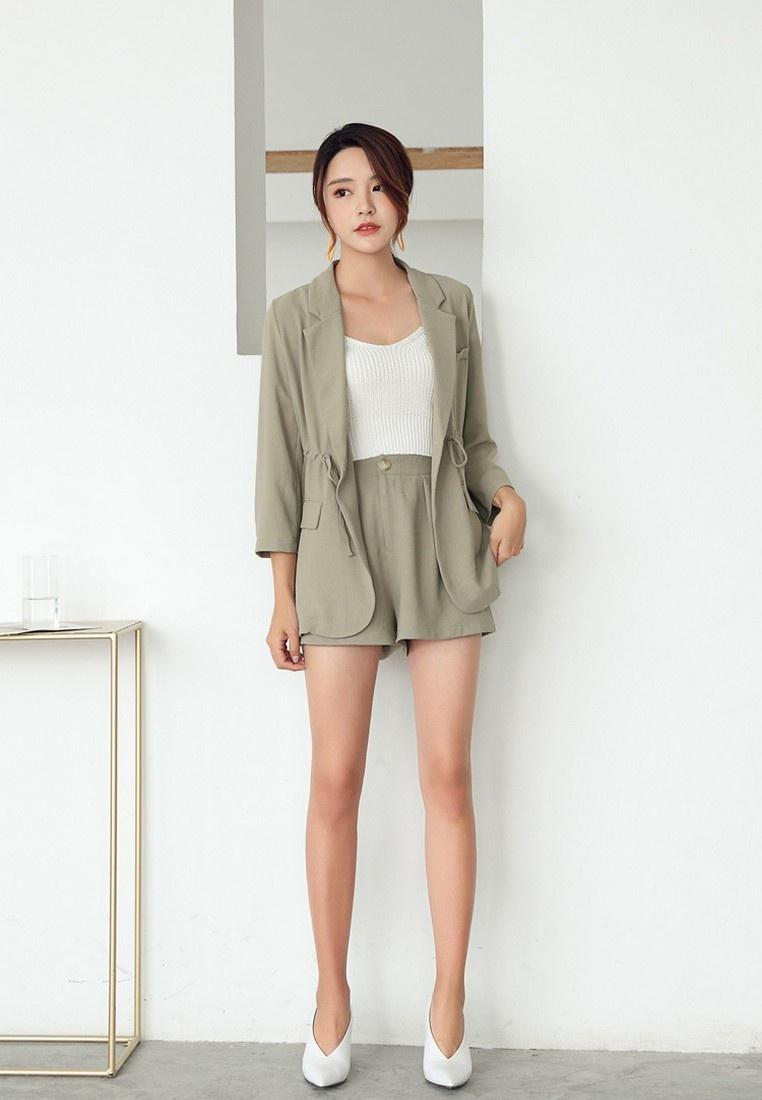 Jacket Korean Green Spring Two Summer Causal Long Lapel ...