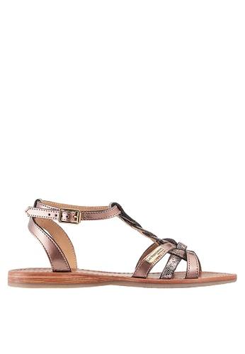Les Tropeziennes Par M. Belarbi pink Hams Bronze Braided Strap Leather Sandals 038C7SHC5905BBGS_1
