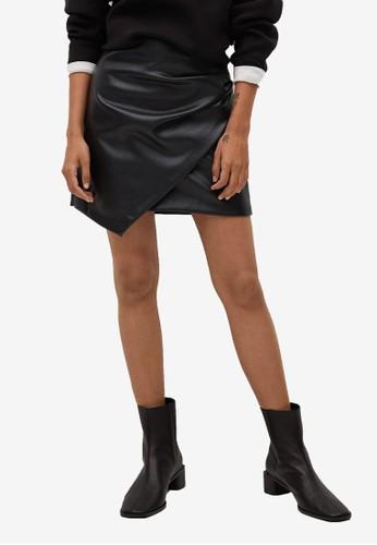 Mango black Leather Effect Mini Skirt 3078AAA343E076GS_1
