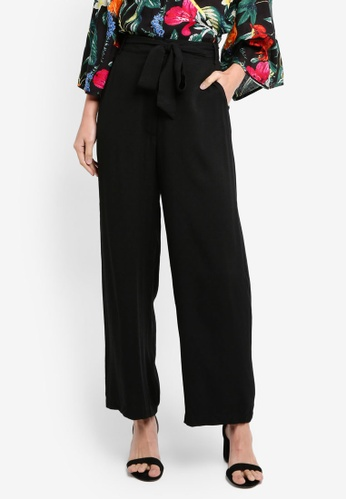 ZALORA BASICS black Wide Leg Pants 74451AADB44B2AGS_1