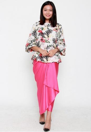Naphthys Collection pink Amelia Long Draped Skirt NA003AA63ZWMSG_1