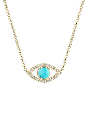 Elli Germany gold Perhiasan Wanita Perak Asli - Silver Kalung Mata dengan Howlite & Crystal Gold Plated 024F2AC70EE5B2GS_1