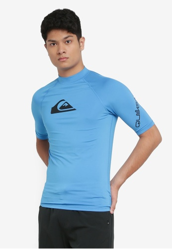 Quiksilver blue All Time Short Sleeves UPF 50 Rash Vest 49DB7AAE72EEA5GS_1