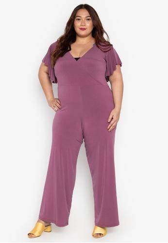 8e36af9f272 Ashley Collection Plus. Plus Size V-Overlap Ruffle Sleeve Jumpsuit