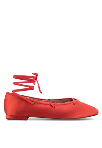 Mango red Lace-Up Ballerinas MA193SH49MHMMY_1