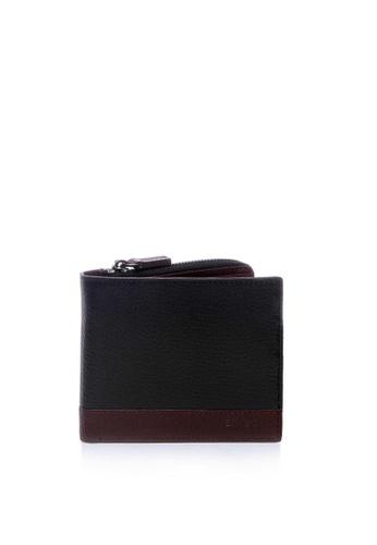 Enjoybag red Dennis's Italian Goat Leather Colorblock Short Wallet EN763AC2V6VLHK_1