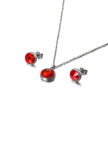 Glamorousky red Fashion Simple Geometric Round 316L Stainless Steel Necklace and Stud Earring Set with Red Cubic Zirconia 184C4ACE701735GS_1